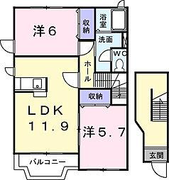 サニ−スクエアC[2階]の間取り