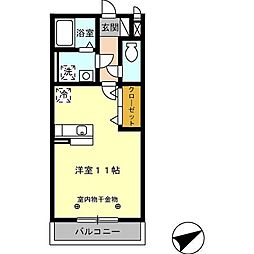 JR久大本線 久留米大学前駅 徒歩11分の賃貸アパート 2階ワンルームの間取り