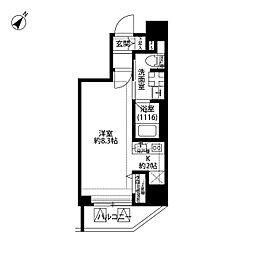 プレール・ドゥーク中目黒 5階ワンルームの間取り