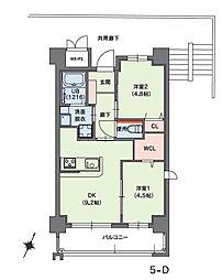 クラシオン小笹山手5番館 6階2DKの間取り