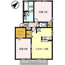 徳島県徳島市東吉野町3丁目の賃貸アパートの間取り