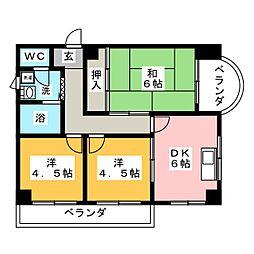 ハイツ奈加川[3階]の間取り