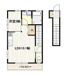 JR山陽本線 廿日市駅 徒歩5分の賃貸アパート 2階1LDKの間取り
