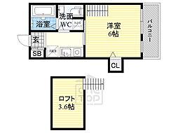 セサンク太子橋 2階ワンルームの間取り