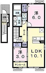 兵庫県豊岡市日高町鶴岡の賃貸アパートの間取り
