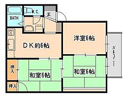 兵庫県宝塚市仁川宮西町の賃貸アパートの間取り