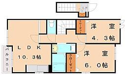 サンヴィレッジ須恵[2階]の間取り