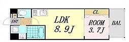 V-ランコントル吹田 6階1LDKの間取り