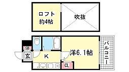 エステムコート三宮駅前ラ・ドゥー[314号室]の間取り