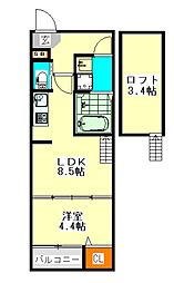 ハーモニーテラス押切(ハーモニーテラスオキリ)[2階]の間取り