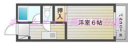 コスモクイーン津倉[1階]の間取り