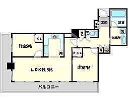 シティタワー堀江 6階2LDKの間取り