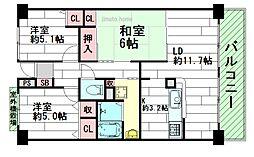 グランコート江坂[6階]の間取り