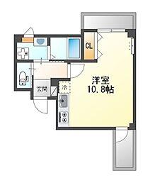 堺市堺区中三国ヶ丘町賃貸マンション新築 2階ワンルームの間取り
