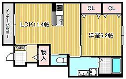 JR草津線 手原駅 徒歩8分の賃貸アパート 1階1LDKの間取り
