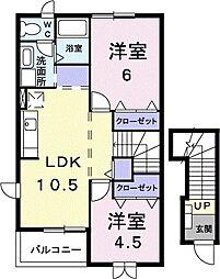 JR赤穂線 邑久駅 徒歩16分の賃貸アパート 2階2LDKの間取り