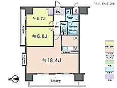 2LDK・専有面積60.04平米・バルコニー面積9.7平米