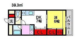 第5サンシャインビル 4階1DKの間取り