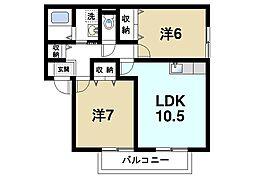 エスペランサ 1階2LDKの間取り