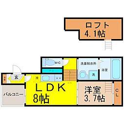 愛知県名古屋市中川区八熊3丁目の賃貸アパートの間取り