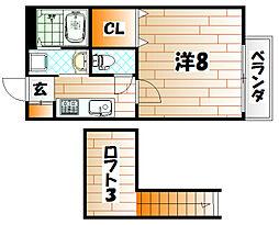 福岡県北九州市八幡西区則松1丁目の賃貸アパートの間取り