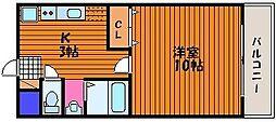 岡山県岡山市北区大元駅前の賃貸マンションの間取り