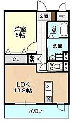 ディアコートK7 2階1LDKの間取り