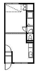 ニューライフコーポ 2階ワンルームの間取り
