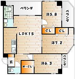 J5 stage1[3階]の間取り