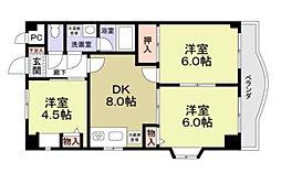 神奈川県相模原市南区鵜野森2丁目の賃貸マンションの間取り