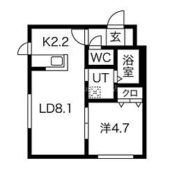 札幌市営南北線 麻生駅 徒歩5分の賃貸マンション 2階1LDKの間取り