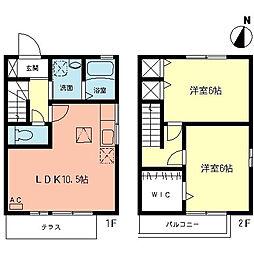 神奈川県大和市上草柳5丁目の賃貸アパートの間取り
