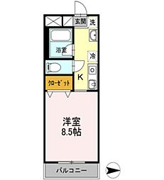 マメゾン三野[1階]の間取り
