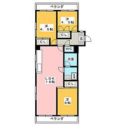 セブンスターマンション御器所[2階]の間取り