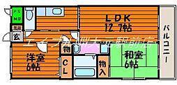 岡山県岡山市北区中井町1丁目の賃貸マンションの間取り