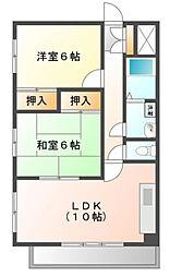JR山陽本線 明石駅 バス14分 バス停下車 徒歩3分の賃貸マンション 4階2DKの間取り