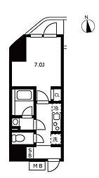 ハーモニーレジデンス浜松町 9階1Kの間取り