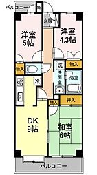 東京都東村山市恩多町2丁目の賃貸マンションの間取り