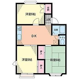 千葉県香取市北3丁目の賃貸アパートの間取り