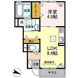 JR山陽本線 下関駅 徒歩24分の賃貸アパート 1階1LDKの間取り