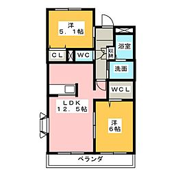 愛知県名古屋市中川区戸田1の賃貸アパートの間取り