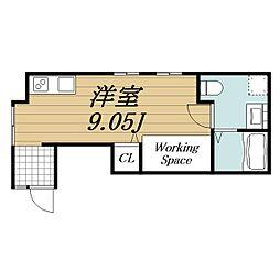 JR成田線 成田駅 徒歩10分の賃貸アパート 1階ワンルームの間取り