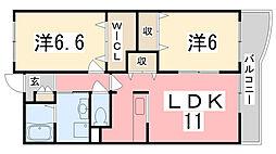 兵庫県高砂市中筋2丁目の賃貸アパートの間取り