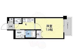 ファーストフィオーレ江坂江の木町パークサイド 14階1DKの間取り