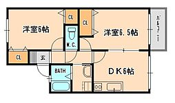 兵庫県宝塚市紅葉ガ丘の賃貸アパートの間取り
