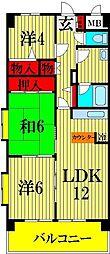 埼玉県川口市北原台2丁目の賃貸マンションの間取り