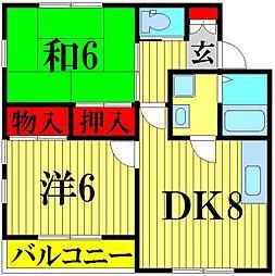 埼玉県川口市大字藤兵衛新田の賃貸アパートの間取り