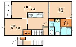 クレメント2[2階]の間取り
