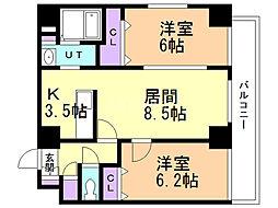 コンフォート豊平 8階2LDKの間取り
