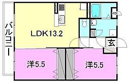 Bonheur 1階2LDKの間取り